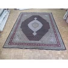 12 x 15 hand knotted persian black mahi tabriz oriental rug wool silk g4799