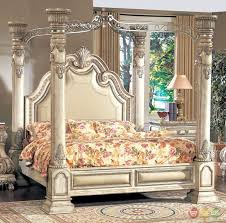 Details about Victorian Inspired Antique White Luxury California King Poster Canopy Bed