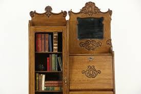 oak side by side 1900 antique combination bookcase secretary desk