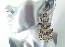 beautiful vintage gold tone diamante big chandelier layered drop earrings new