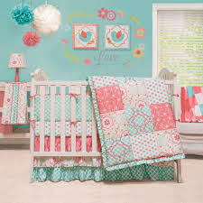 mila c blue fl patchwork baby girl crib bedding 4 pc set by peanut shell