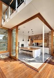 brick wall panel kitchen modern kitchen design and dining area with glass and old brick walls brick wall kitchen splashback