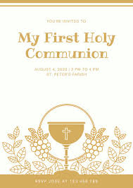 first communion invitation templates gold and white first cup boy first communion invitation templates