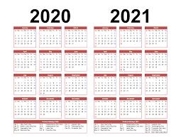 Microsoft Excel Calendar 2020 Printable Calendar 2020 2021 Two Year Per Page Free Pdf