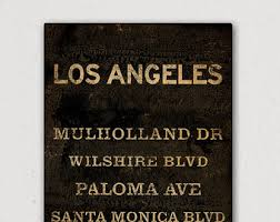 custom personalized los angeles streets  on wall art street names with chicago train canvas etsy