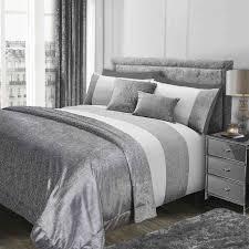 sienna glitter duvet cover with pillow case sparkle glitz velvet bedding set grey silver