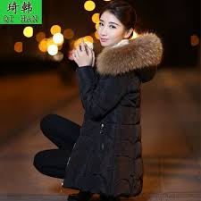 down jacket long section thickening women s winter clothes big fur collar large size slim new