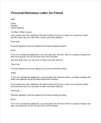 Personal Reference Letter For A Friend 14 Personal Reference Letter Templates Free Sample