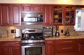 Red And Gold Kitchen Santa Cecilia Granite Countertops