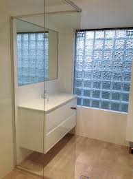 free greenwood bathroom with floating vanity with basin mixer custom made mirror glass block window with glass block window in shower