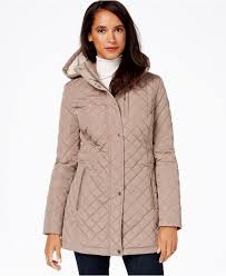 Lyst - Calvin klein Hooded Quilted Jacket in Gray & Gallery Adamdwight.com