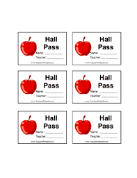Hallway Pass Template Hall Pass With Name