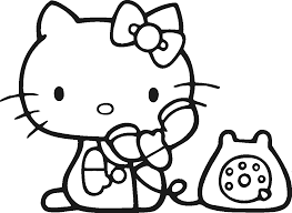 This is a cute hello kitty coloring page showing a nurse checking temperature of her patient. Japanese Hello Kitty Coloring Pages