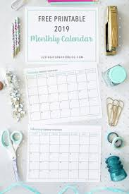 free printable 2019 monthly calendar free printable 2019 calendar just a girl and her blog