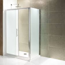 volente frosted single slider shower door easy clean glass various sizes optional side panel
