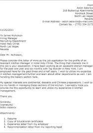 Assistant Kitchen Manager Cover Letter Alexandrasdesign Co