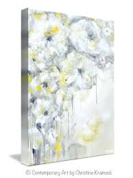 yellow and gray wall art grey textured painting original