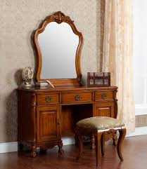 Vintage Look Antique Oak Dresser With Mirror Built In And 3 Drawer With  Metal Handle Plus Cabinet And Stool With Fabric Cushion Cover Ideas