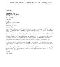 Example Of Education Cover Letters Teacher Application Cover Letter