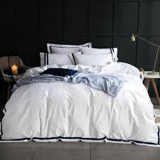 hotel bedding set 100 cotton duvet cover set high quality 5 star hot bedding 80s stripe bed linens wedding gift white bed set comforter sets navy