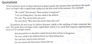 direct qoute direct discourse and capitalization english language learners
