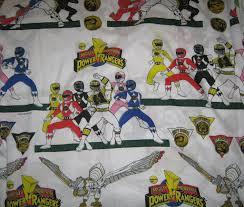 Power Rangers Twin Flat Bed Sheet Reclaimed Fabric