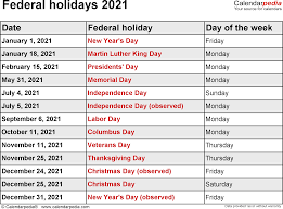 Add your notes, official holidays before you print. Federal Holidays 2021