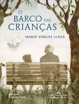 """Capa do livro """"O barco das crianças"""". Ilustração de um velho e um menino de costas conversando em um banco no parque enquanto avistam um barco à frente"""