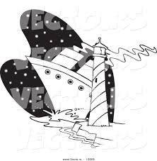 Small Picture Vector of a Cartoon Big Ship near a Light House Outlined