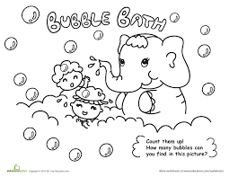 Bubble Bath Coloring Page Count Them