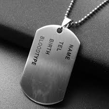 unique designer stainless steel mens nameplate military army style dog tags chain mens pendant necklace jewelry accessoriessteals and deals