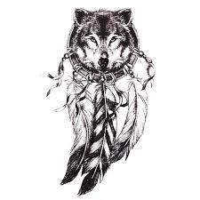 1 шт эскиз черная наклейка тату для женщин и мужчин 3d боди арт волк индийский