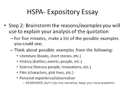 hspa expository essay you will be asked to write at least a  3 hspa expository essay step 2 brainstorm the reasons examples