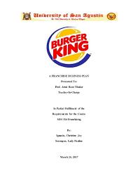 Burger King Franchise Business Plan
