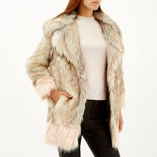 river island faux fur hood padded jacket