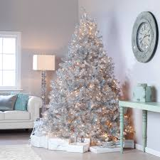 Classic Silver Tinsel Full Pre-lit Christmas Tree with Clear Lights    Hayneedle
