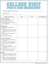 college selection spreadsheet college visit checklist worksheet worksheets college and online