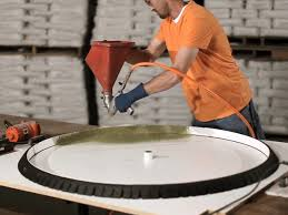 Round Concrete Table Top and Base - Table Top Spraying | CHENG Concrete  Exchange