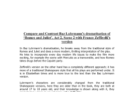 compare and contrast baz luhrmann s dramatisation of romeo and  document image preview