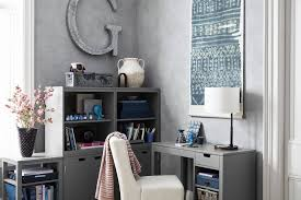 living room home office ideas. Grey Home Office Ideas With Cream Upholstered Chair From Pottery Barn Living Room