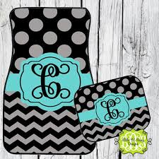 chevron car floor mats. Personalized Car Mats Chevron Monogrammed Floor Mat Initial Turquoise Black Gray Dots R