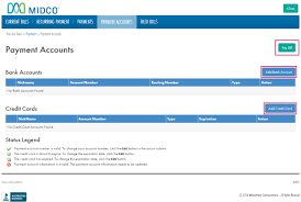 midco billing how do i make a payment online midco com to add a payment account click add bank account or credit card fill out the form and then click pay bill to complete the payment process