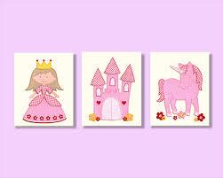 princess castle unicorn nursery wall art girls room décor three 8x10 prints