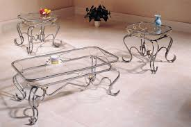 glass top coffee table with wrought iron legs