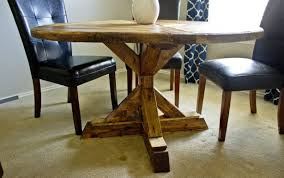 dining trestle double center wood diy good outdoor table woodworking round designs plans room looking farmhouse