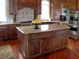 classic style kitchen island cabinet with granite countertop and sink