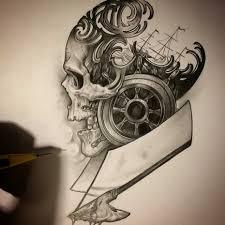 стимпанк тату эскизы и фото работ татуировки в стиле Steampunk для
