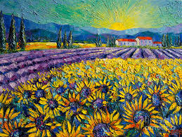 sunflower painting sunflowers and lavender field the colors of provence modern impressionist palette knife