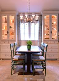 dining room white cabinets. Farmhouse Dining Room White Built In Corner Cabinets With Warm Lighted Inner Space Silver Draperies Classic T