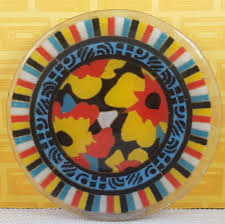 details about peggy karr fused glass plate orange yellow black flowers blue stripes pattern